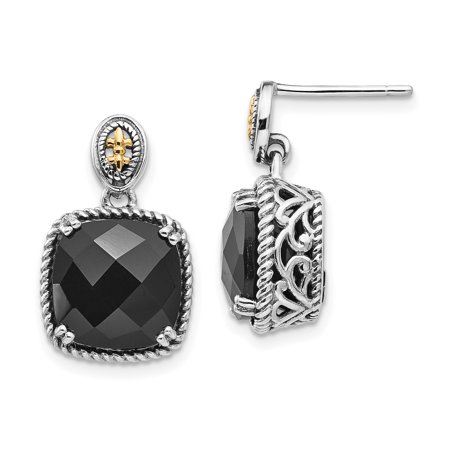 (925 Sterling Silver 14k Black Onyx Drop Dangle Chandelier Post Stud Earrings)