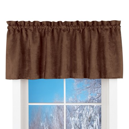 Faux Suede Rod Pocket Curtain Valance Chocolate Walmart Com