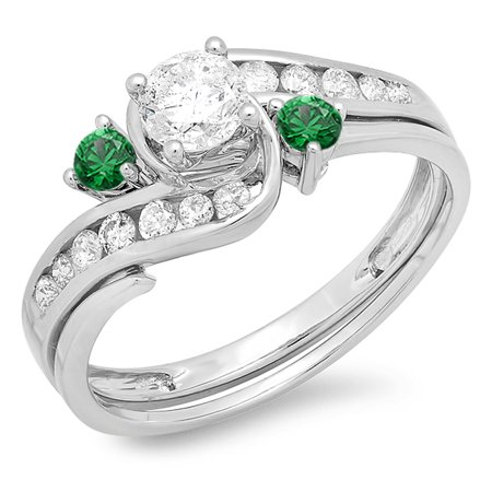 0.90 Carat (ctw) 18k White Gold Round Green Emerald And White Diamond Ladies Swirl Bridal Engagement Ring Matching Band