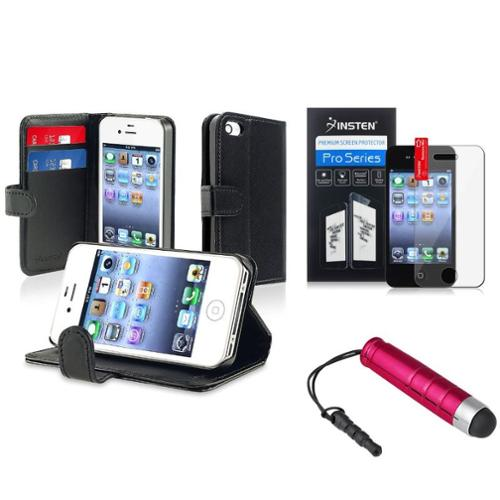 Insten Leather w/Credit Card Wallet Black Case+Pen+Clear Protector For iPhone 4 4G 4S