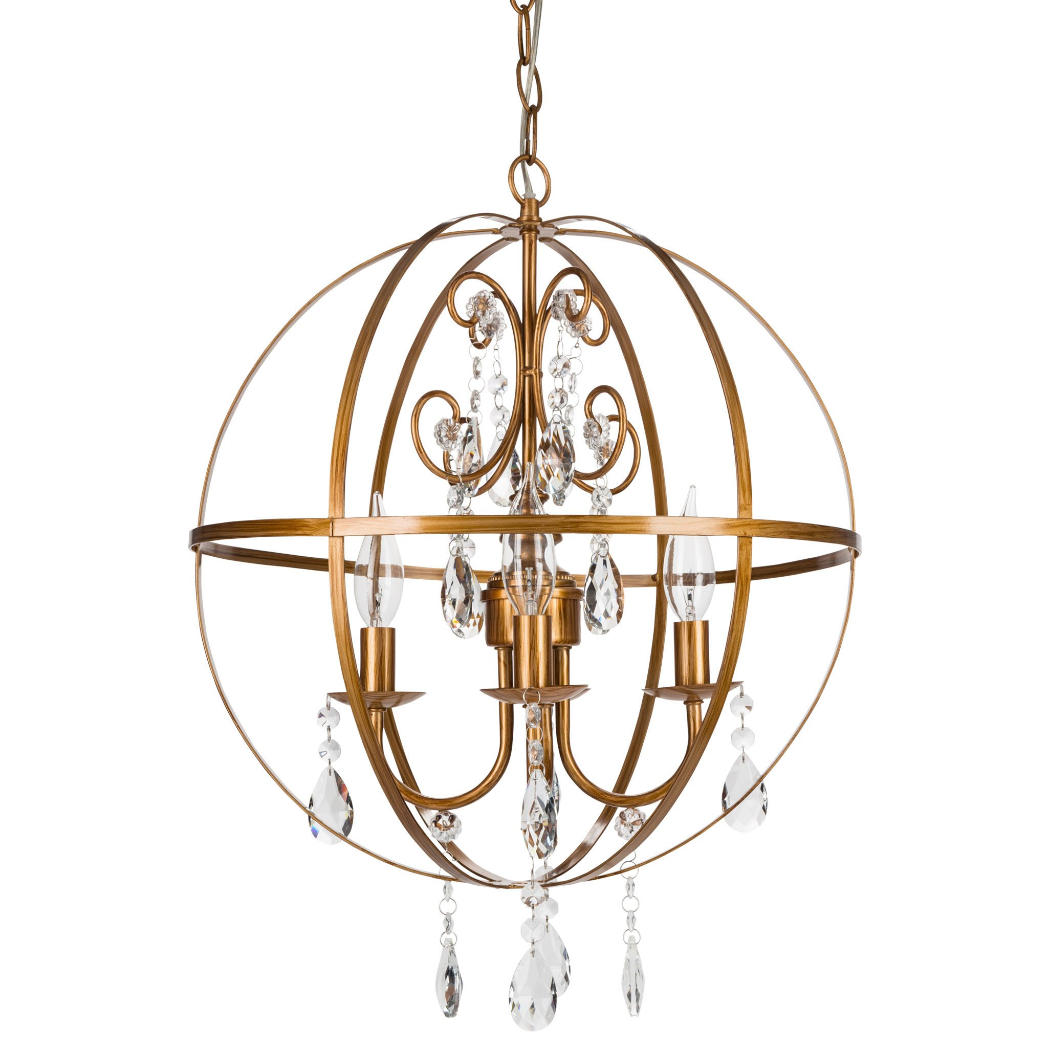 Amalfi Decor 4 Light Contemporary Crystal Orb Plug-In Chandelier (Gold) | Wrought Iron Frame with Glass Crystals by