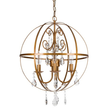 Amalfi Décor 4 Light Contemporary Crystal Orb Plug-In Chandelier (Gold) | Wrought Iron Frame with Glass Crystals](Chandelier Frame)