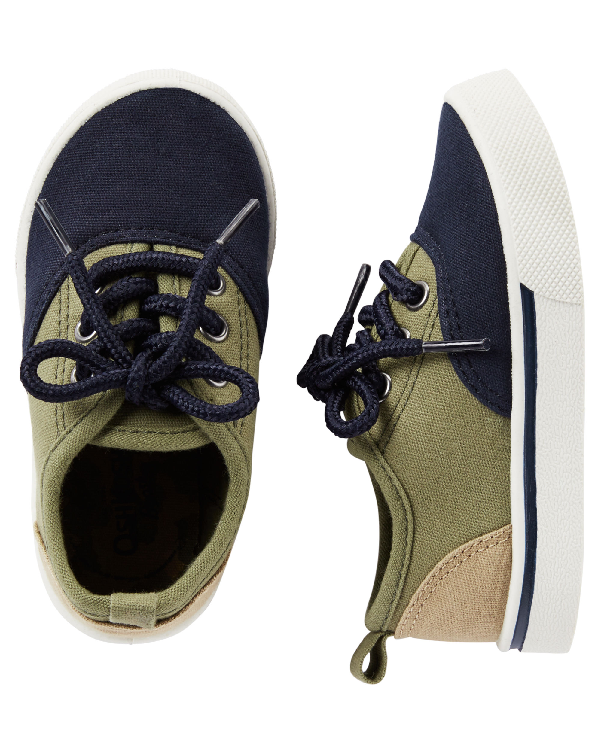Oshkosh B'gosh Boys' Casual Sneakers-Navy/Khaki- Size 5