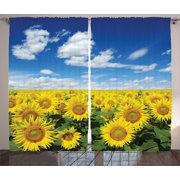 Sunflower Decor Curtains 2 Panels Set, Fresh Sunflowers Field Under Bright Sky Clouds Countryside Farm Picture Print, Living Room Bedroom Accessories, By Ambesonne