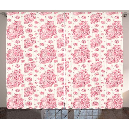 Coral Curtains 2 Panels Set, Peonies English Roses Victorian Bouquet Corsage Blossoms Flourish, Window Drapes for Living Room Bedroom, 108W X 84L Inches, Light Pink Dark Coral White, by (Victorian Corsage)