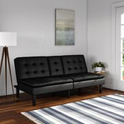 Mainstays Memory Foam Faux Leather PillowTop Futon with Cupholder, Multiple Colors