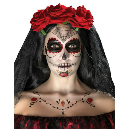 Black Makeup Ideas For Halloween (Day of the Dead Face Tattoo Kit Adult Costume Makeup Red and)