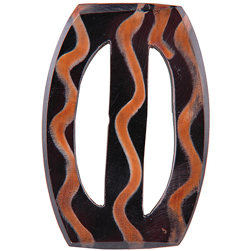 Vision Trims Handmade Horn Buckle Oval-Wavey Multi-Colored