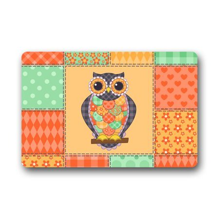 RYLABLUE Animal Print Artistic Owl with Flower Doormat Mat 23.6x15.7 inches - image 1 of 2