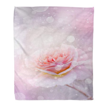 ASHLEIGH Flannel Throw Blanket Abstract Rose in Vintage Pink Flower Aged Antique Beautiful Soft for Bed Sofa and Couch 50x60 Inches