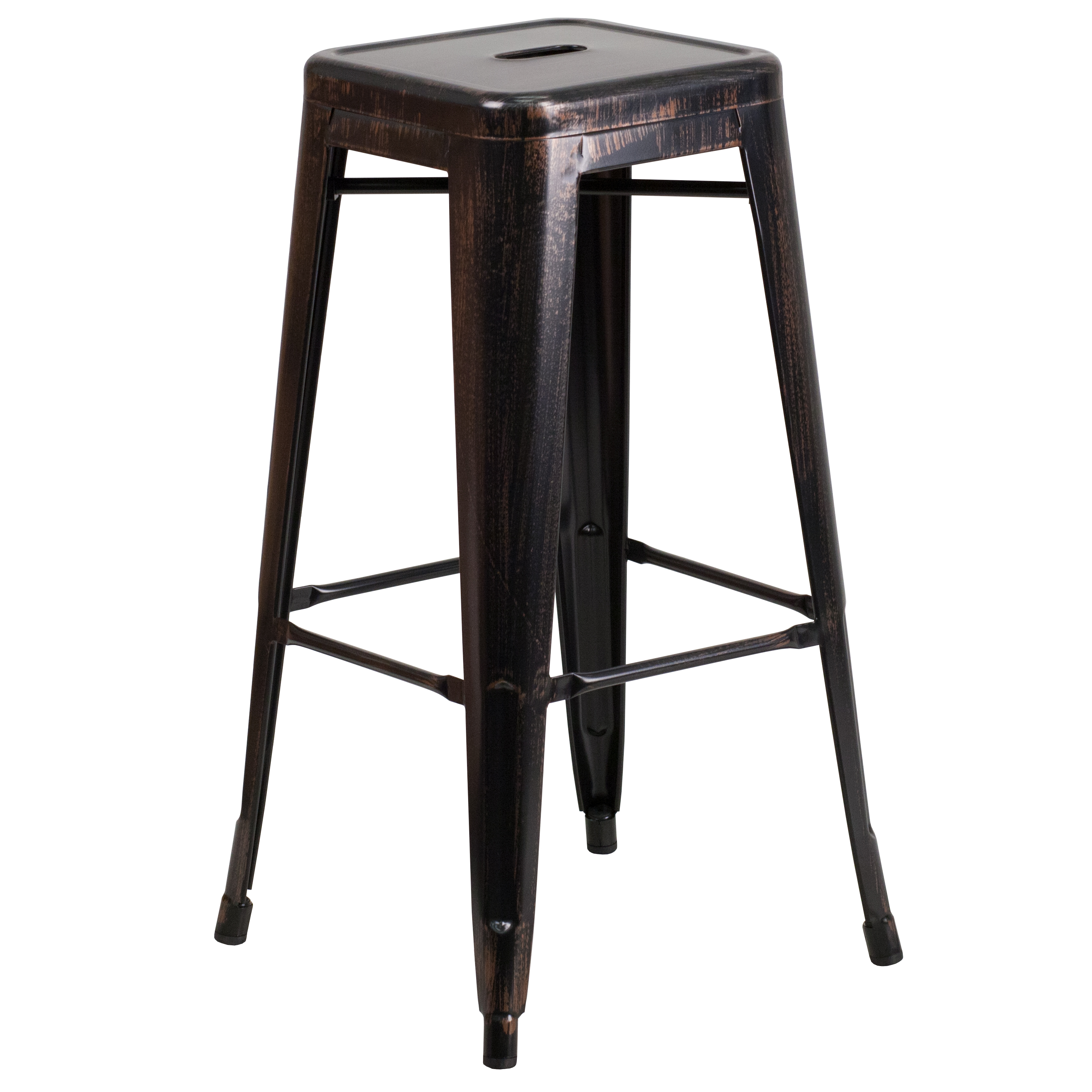 "Flash Furniture 30"" High Backless Black-Antique Gold Metal Indoor-Outdoor Barstool with Square Seat"