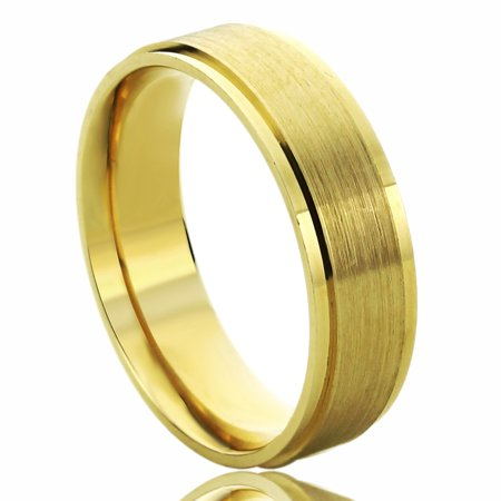 14K Yellow Gold Wedding Band 6mm Brushed Dome Comfort Fit Ring