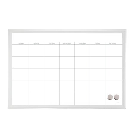 U Brands Magnetic Dry Erase Calendar, 30 x 20 Inches, White Décor Frame (Daily Calendar Whiteboard)