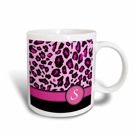 (3dRose Personalized initial S monogrammed hot pink and black leopard pattern animal print - personal letter - Ceramic Mug, 11-ounce)