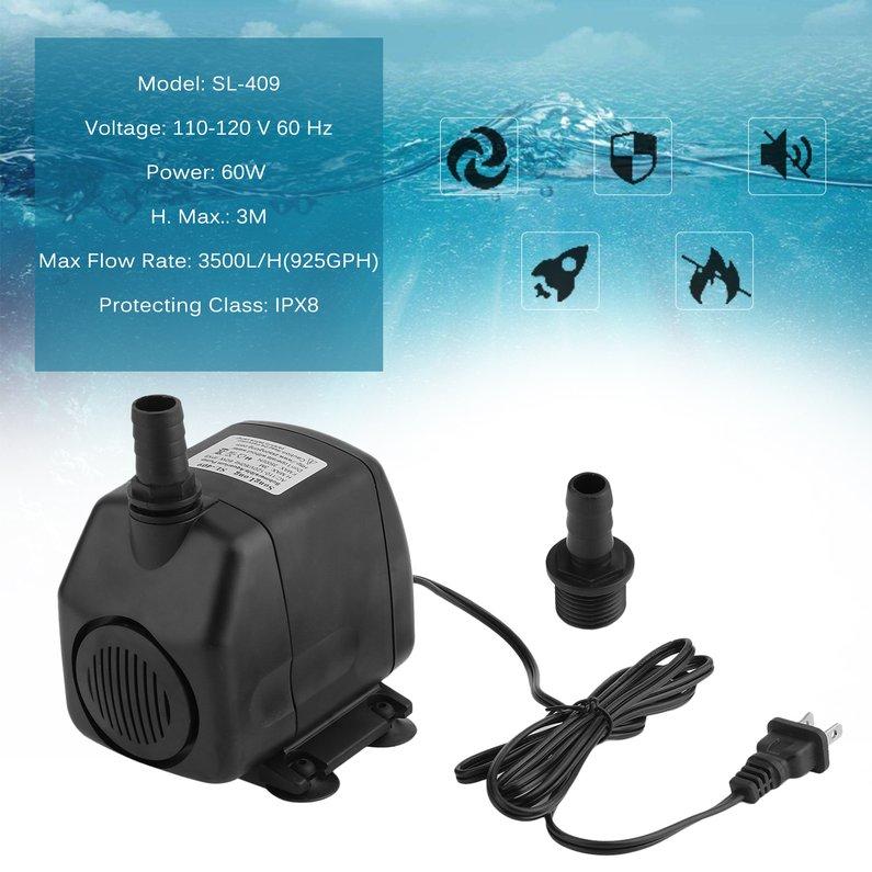 2018 New Upgraded 925GPH 1050GPH Aquarium Pond Water Pump Universal Adjustable Submersible Pump(Black)