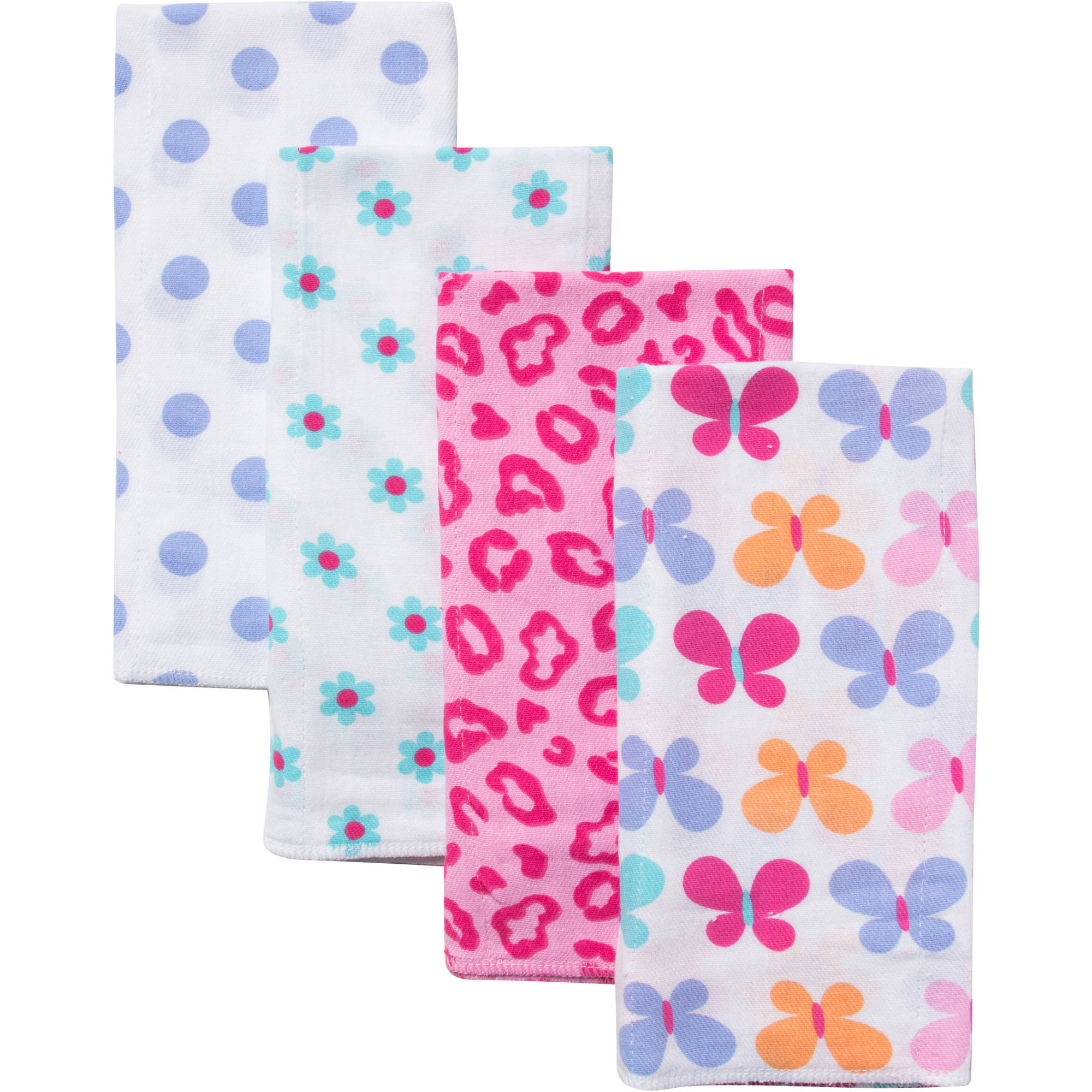 Gerber Prefold Diaper Burp Cloths, Girl Floral Print, 4 count