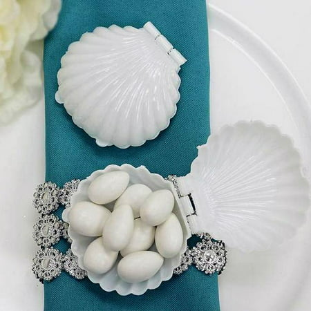 BalsaCircle 12 pcs Mini Sea Shells Mermaid Party Favor Holders Wedding Decorations - White