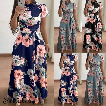 - Women Floral Printed Long Maxi Dress Evening Cocktail Party Beach Summer Dress
