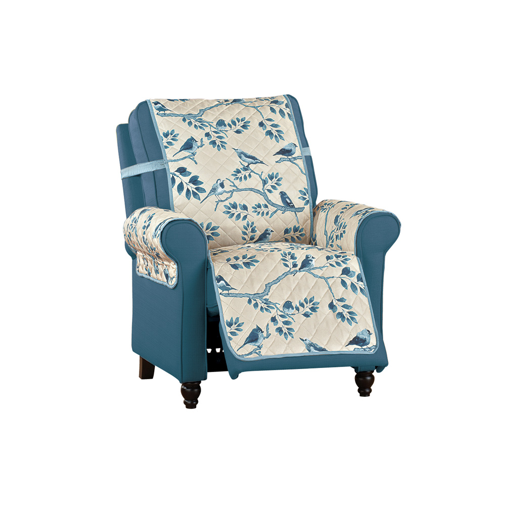 Reversible Birds on a Branch Furniture Cover Protector, Recliner, Blue