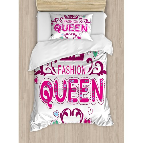 Ambesonne Girlish Print Fancy Fashion Queen Lettering Flo...