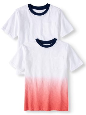 Wonder Nation Short Sleeve Dip Dye Ringer T-Shirt, 2-Pack Set (Little Boys & Big Boys)