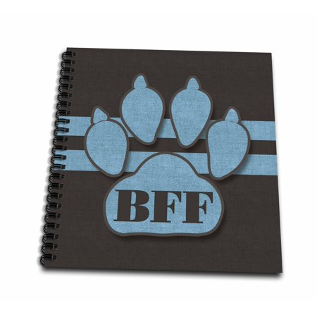 3dRose BFF Cute Blue Dog Paw for Pet Lovers Best Friends Forever - Mini Notepad, 4 by