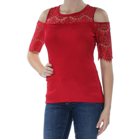 Little Tee Tee Lace And Trims (INC Womens Red Cold Shoulder  Lace Trim Short Sleeve Jewel Neck T-Shirt Top  Size:)