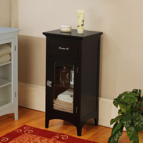 Elegant Home Fashions Madison Avenue Dark Floor Cabinet with 1 Door and 1 Drawer