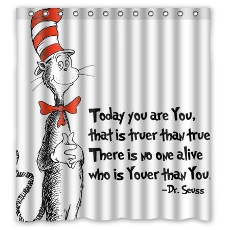 DEYOU DR Seus Cat in the Hat Shower Curtain Polyester Fabric Bathroom Shower Curtain Size 66x72 inches for $<!---->