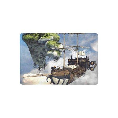 MKHERT Funny Fantasy Flying Ship and Floating Island Above The Clouds Doormat Rug Home Decor Floor Mat Bath Mat 23.6x15.7 inch - Above Door Decor