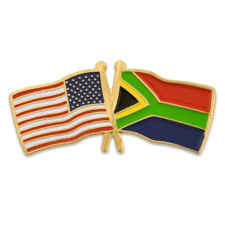 USA and South Africa Crossed Friendship Flag Enamel Lapel (South African Store Usa)