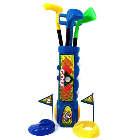 Kid's Happy Golfer Toy Golf Set w/ 3 Golf Balls, 3 Types of Clubs, 2 Practice Holes, Perfect Golf Set for Children (Blue)