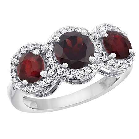 14K White Gold Natural Garnet & Enhanced Ruby Sides Round 3-stone Ring Diamond Accents, size 5