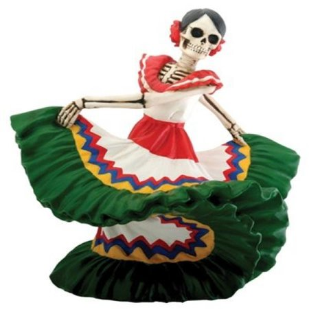 Green Skeleton Dancing Senorita Day of the Dead Dia de Los Muertos Figurine