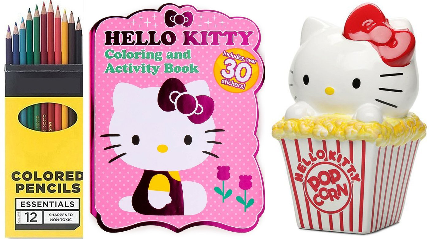 Hello Kitty Popcorn Ceramic Bank Figure & Sanrio Hello Kitty Coloring, Activity, & Sticker... by