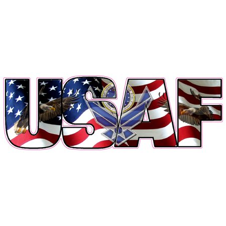 United States Air Force American Flag Eagle Lettering Vinyl Magnet