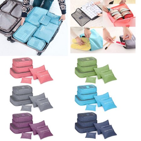 6Pcs Waterproof Travel Storage Bags Clothes Packing Cube Luggage Organizer