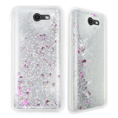buy online 23489 07da7 Galaxy J7 Sky Pro Case, Galaxy J7 Perx Case, Galaxy J7 V Case, TJS Luxury  Bling Glitter Sparkle Liquid Infused Glitter Stars Moving Quicksand For ...
