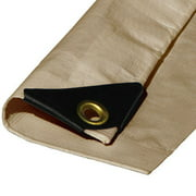 (Beige/Tan) Heavy Duty Premium Poly Tarp 12 Mil Thickness 3 Ply Coated Reinforced Canopy 6 oz 3 Layer