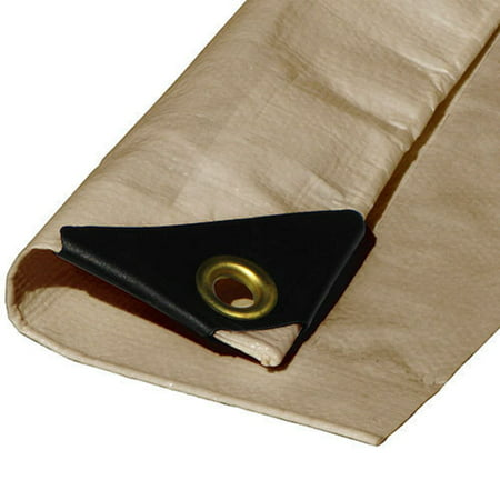 - (Beige/Tan) Heavy Duty Premium Poly Tarp 12 Mil Thickness 3 Ply Coated Reinforced Canopy 6 oz 3 Layer