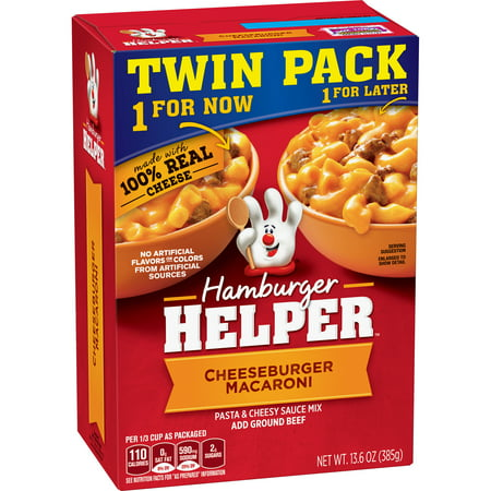 (3 Pack) Hamburger Helper Pasta & Cheesy Sauce Mix Cheeseburger Mac 13.6 oz Hamburger Helper Pasta And Cheesy Sauce Mix Cheeseburger Macaroni Twin Pack 13.6 Oz. Box. Americas Favorite Hamburger Helper Is Made With 100% Real Cheese For The Real Taste You Love Most. Our Products Are Made With No Artificial Flavors Or Colors From Artificial Sources.