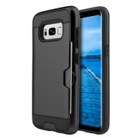 Samsung Galaxy S8 Plus Case, Premium Hybrid Go Dual Layer Stylish Back Case Protective Hard Cover (Lightweighted, Card Slots, Precise Cutouts) For Samsung Galaxy S8 Plus SM-G955U -Black/ Black