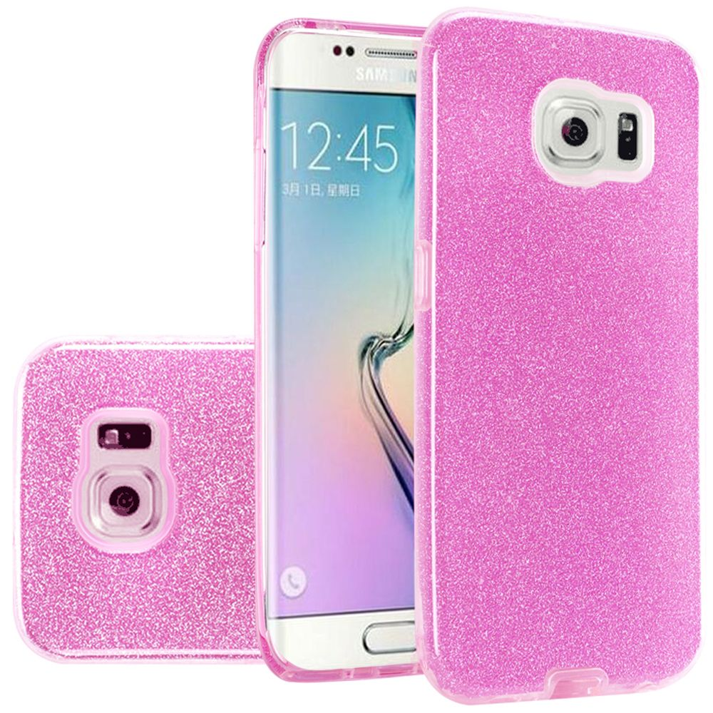 For Samsung S6 Hybrid Clear PC TPU with Glitter Shiny Sparkle Shockproof Phone Case Cover - Light Pink