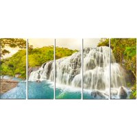 Design Art Bakers Falls Panorama 5 Piece Wall Art on Wrapped Canvas Set