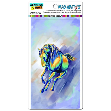 Horse Rectangle Magnet - Graphics and More Horse Running Abstract Painterly Expressionism Mag-Neato's Automotive Car Refrigerator Locker Vinyl Magnet