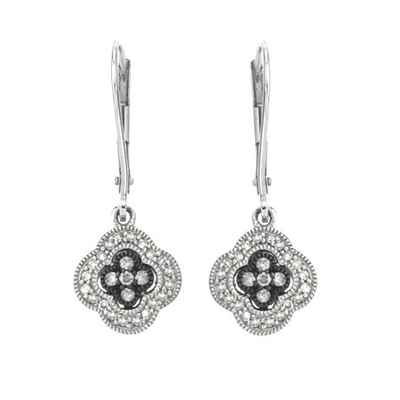 Diamond Dangle Earrings On Leverback In Sterling Silver  0 25 Cts  H I I2