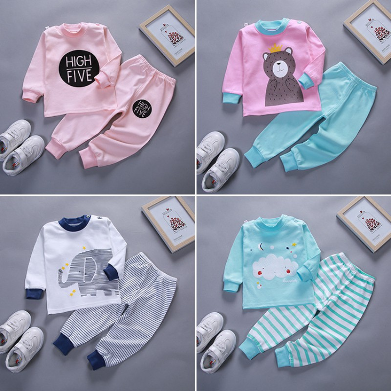 Details about  /1 Set Baby Jacket and Pants with Bow and Cartoon Printed Cotton Winter Girls