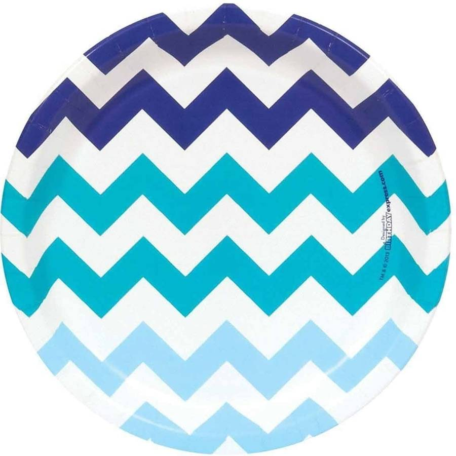Chevron Blue Dessert Plates, Pack of 8