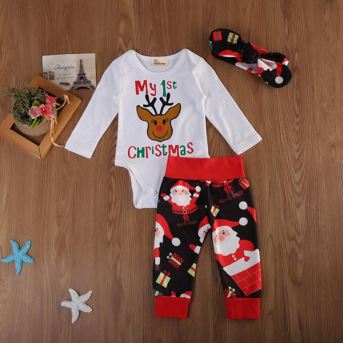 Newborn Infant Baby Girl Boy Clothes Christma Jumpsuit Romper Bodysuit Pant Set