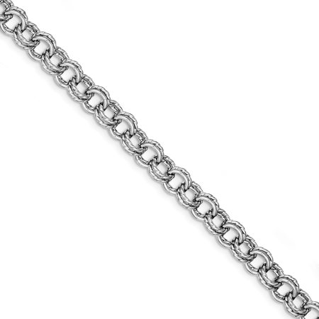 Sterling Silver Rhodium Plated Polish & Texture Circle Link Bracelet (Circle Silver Plated Bracelet)
